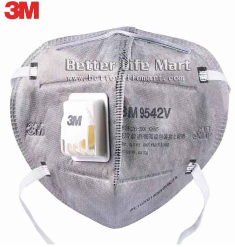 3M 9542V KN95 Particulate Respirator Activated Carbon Face Mask, 20pcs box,...