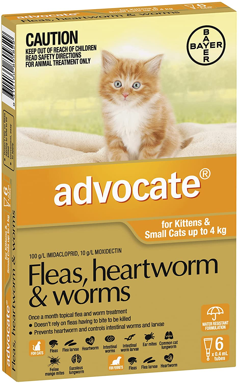 Advocate Flea Heartworm Treatment for Small Cats Up to 4 Kg Orange 6 Pack