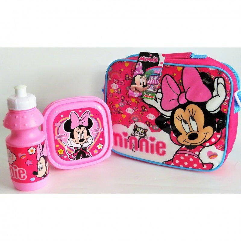 Minnie Mouse Official 3 Piece Lunch Bag With Sandwich Lunch Box And Water B...