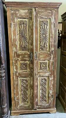 Rustic Armoire Whitewash Carved Wardrobe Cabinet Vintage Reclaimed Wood Che...