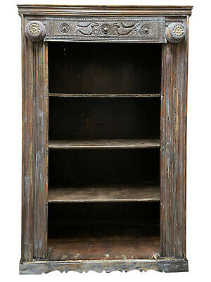 Rustic Blue Bookcase Cowrie Shells Vintage Tall Bookshelf Carved Wood Book ...