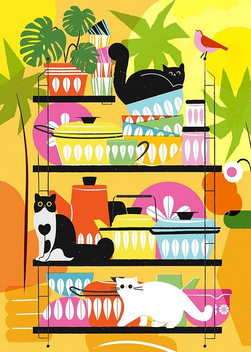 Cats in the Kitchen Puzzle Cat Culture Artist Series Puzzles, Puzzle Piece...