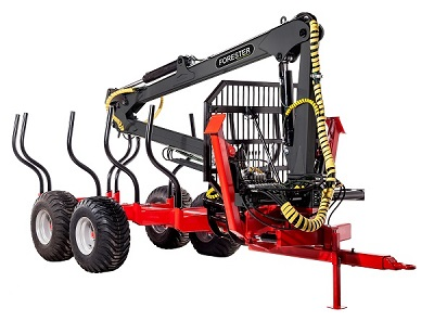 Forester Forestry trailer FT8 with a hydraulic crane FC67