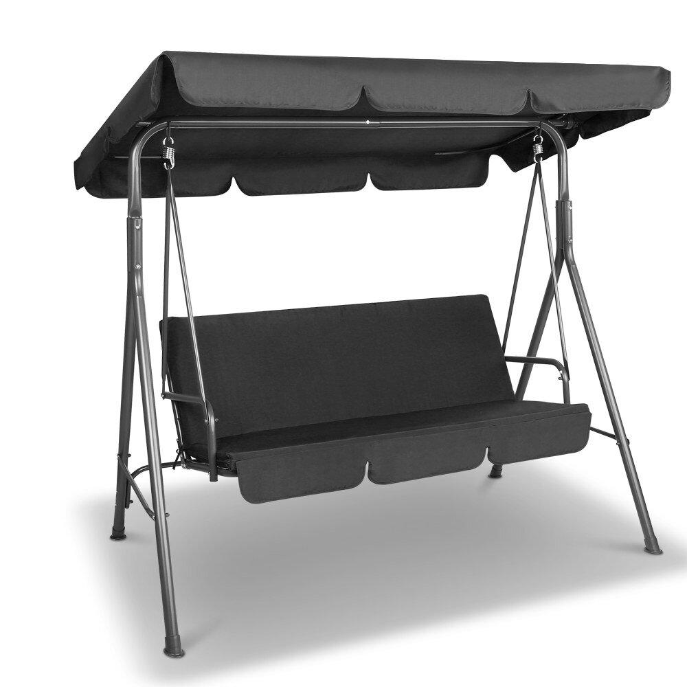 Gardeon 3 Seater Outdoor Canopy Swing Chair Black