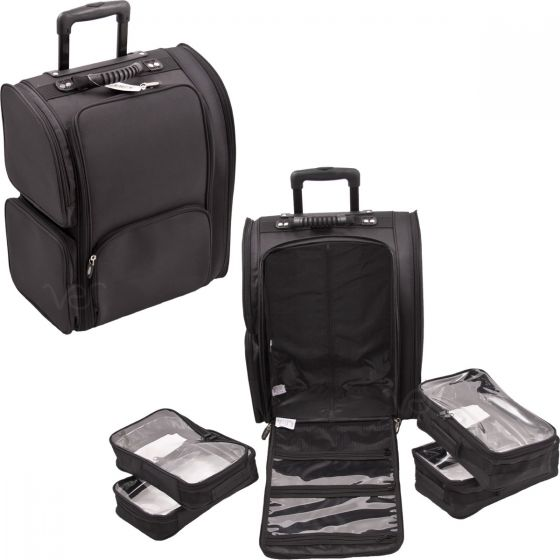 VT011 All Black SoftSided Professional Rolling Makeup Case with Removable ...