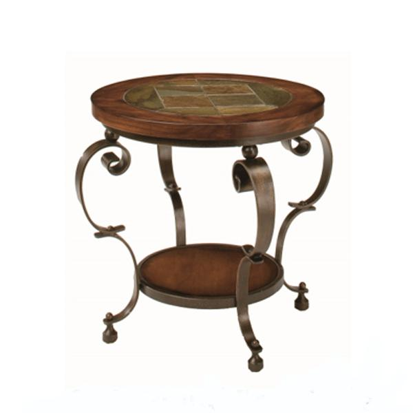 Stone Top Round End Table in California
