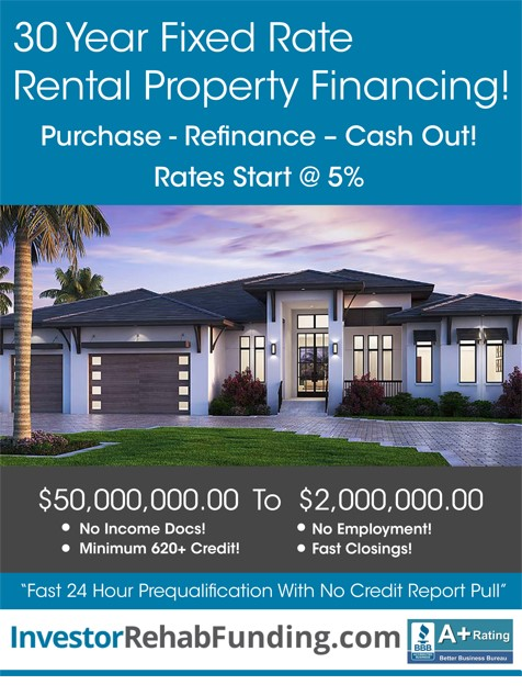 30 Year Rental Fixed Interest Rate Starting At 4.5 Refinance Cash Out Up T...