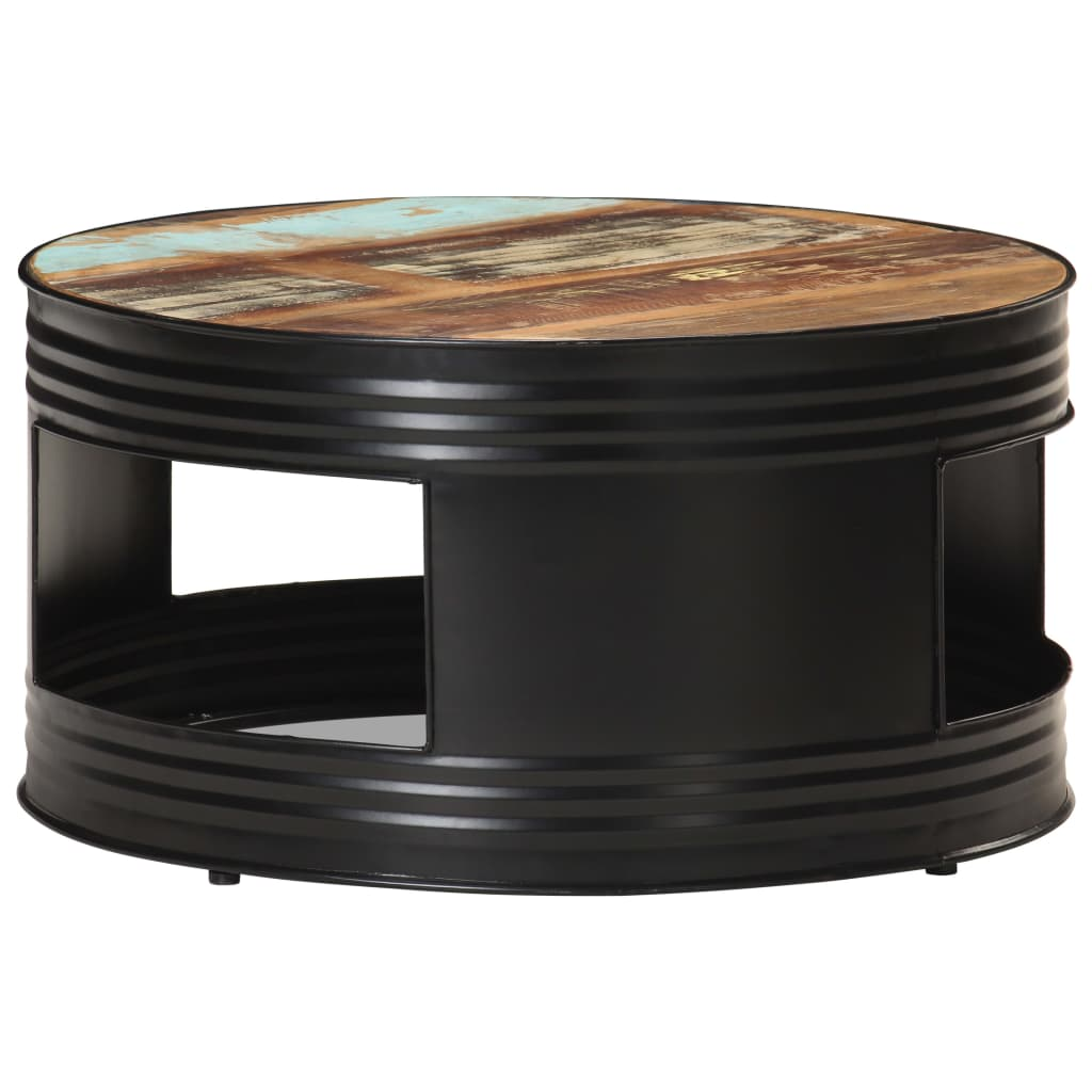 Coffee Table Black 68x68x36 cm Solid Reclaimed Wood