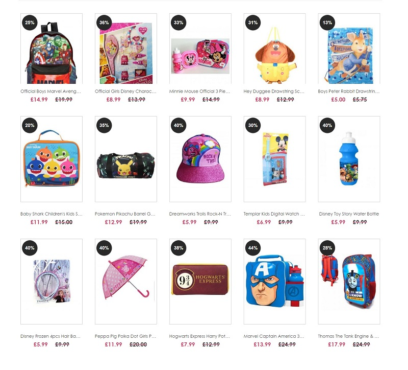 Special Offer On Character Clothing Dresses Pyjamas Bags UK