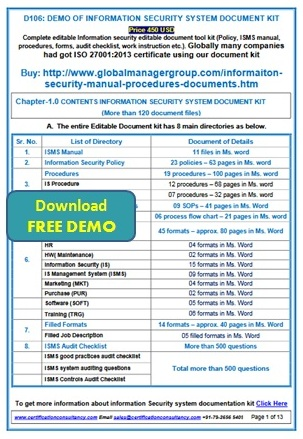 ISO 27001:2013 Documents Toolkit Manual, Procedures, Checklist