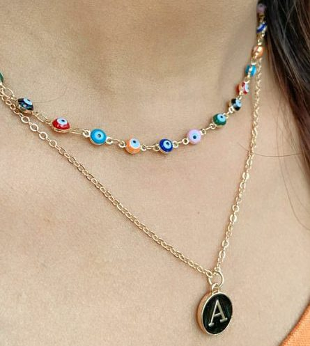 Turkish Boho Evil Eye Intial Two Strand Necklace The Colourful Aura