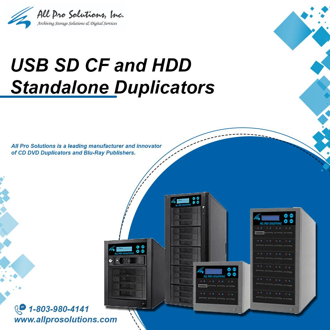 USB SD CF and HDD Standalone Duplicators by All Pro Solutions