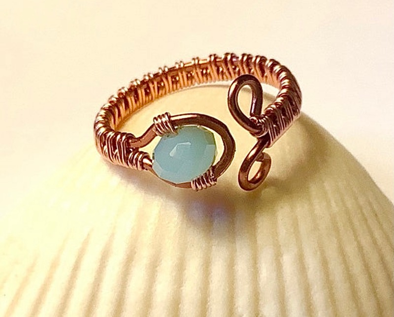 Copper Wire Woven Ring with Light Blue Crystal