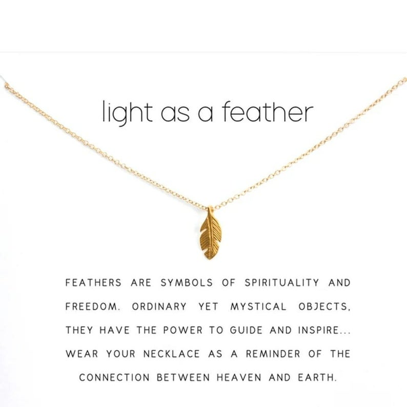 Feather necklace Gold Feather Charm Necklace The Colourful Aura
