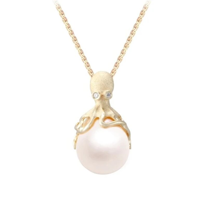 Gold Octopus Pendant With 12mm White Fresh Water Pearl Diamonds