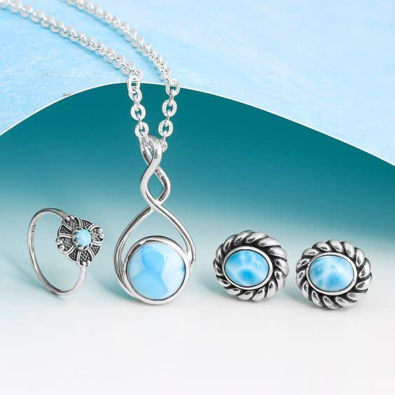 Real Sterling Silver Larimar Stone Jewelry at Wholesale price