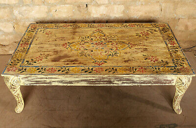 Antique Hand Painted Coffee Table Cabriole legs Accent Side Table Reclaimed...