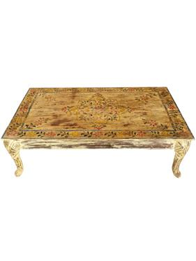 Antique Hand Painted Coffee Table, Takht, Cabriole Elephant legs, Accent Ch...