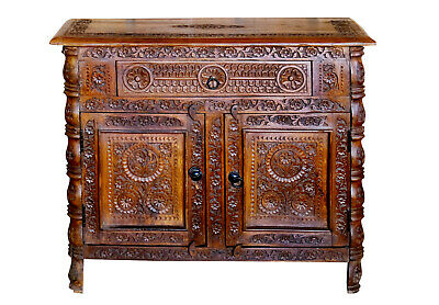 Antique Indian Cabinet Beautiful Floral HandCarved Wooden Cabinets Sideboar...