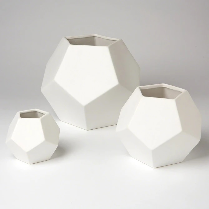 Global Views Faceted Vase Matte White Small Stylish Home Accents At Grayso...