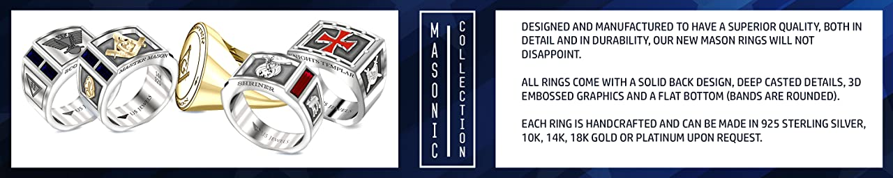 Masonic rings crafted for men are for sale.