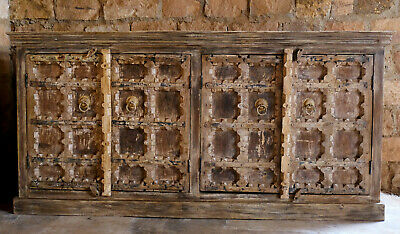 Rustic Distressed Sideboard Media Chest, Reclaimed Wood Handcrafted Storage