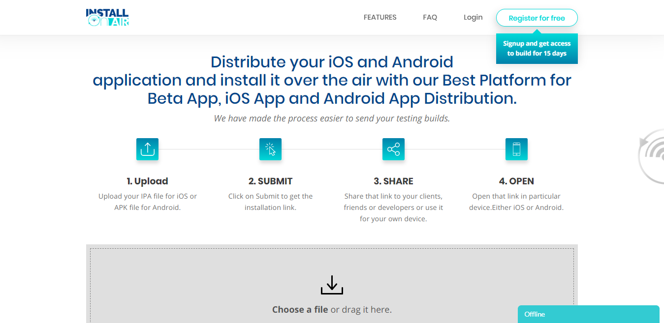 Send and install IPA files easily with Installonair.com