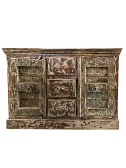 19c Rustic Vintage Sideboard, Old Spanish Style Buffet