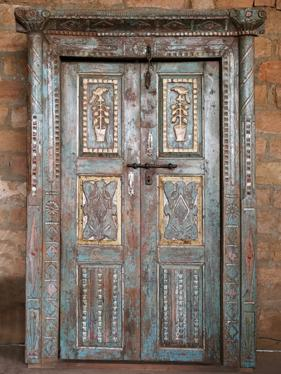 Antique Blue 19th Century Indian Haveli Doors Architectural Design Carved O...