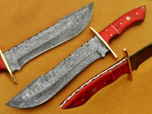 DAMASCUS STEEL BLADE BOWIE KNIFE HANDLE MATERIAL RED ROSE WOOD OVERALL 12 I...