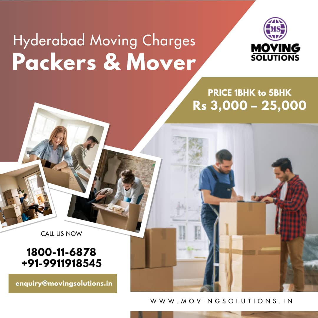 Packers and Movers Hyderabad Charges, Rates, Cost and Price List