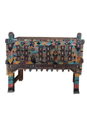 Vintage Indian Colorful Damchiya Dowry Hope Chest Console