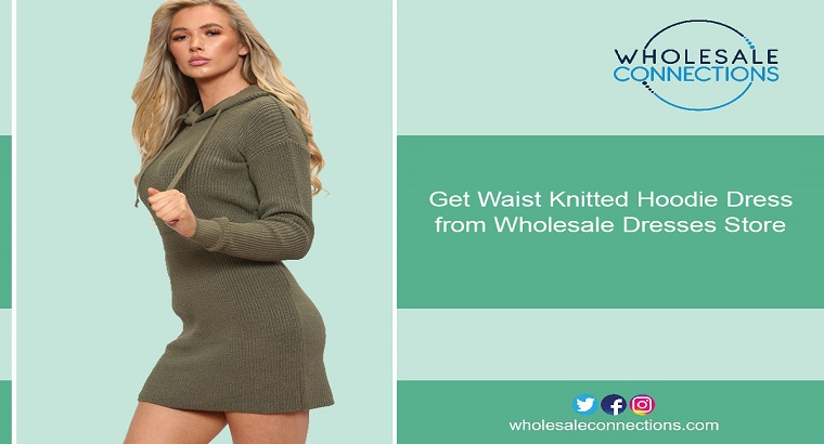 Get Waist Knitted Hoodie Dress from Wholesale Dresses Store