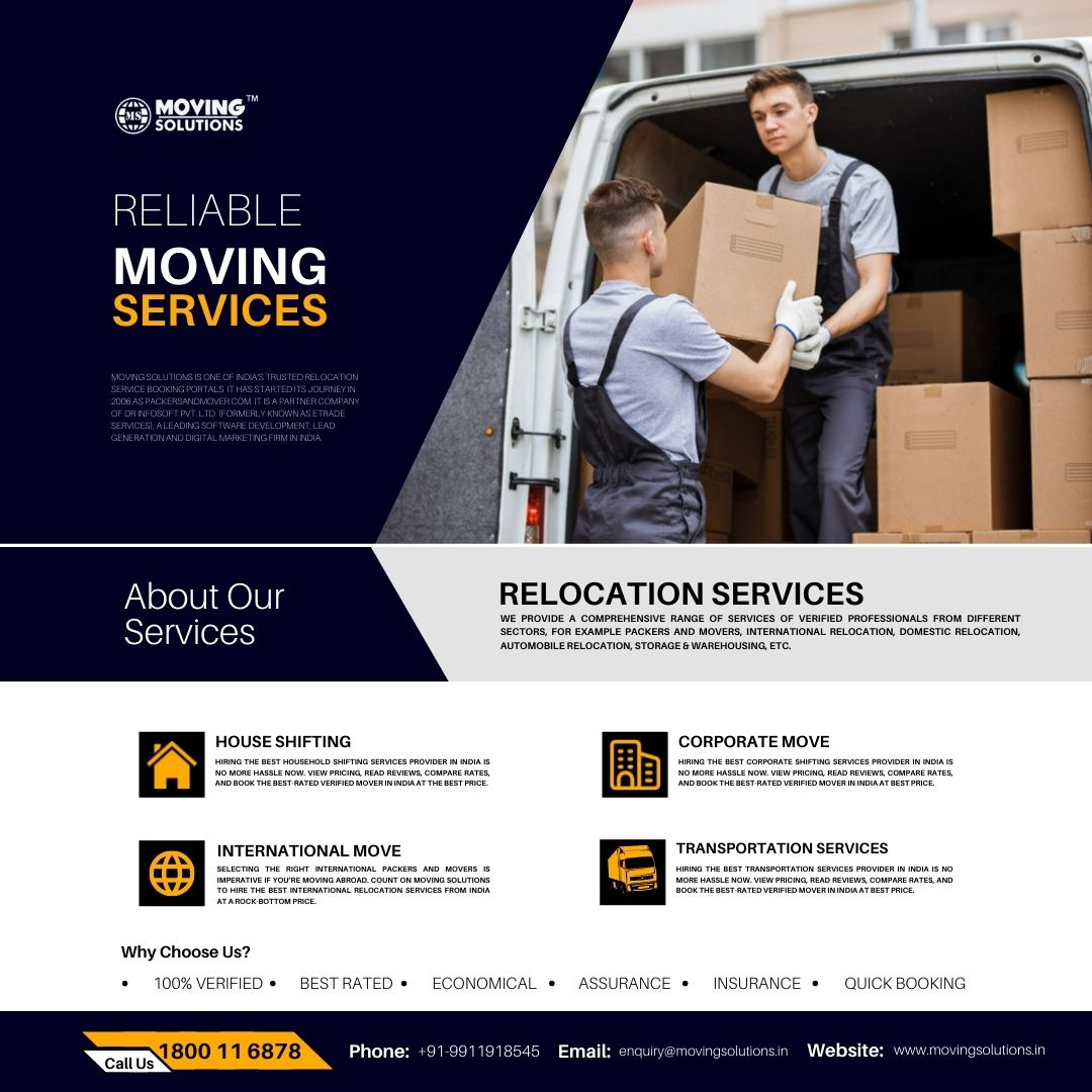 Trusted Packers and Movers Booking Portal Moving Solutions